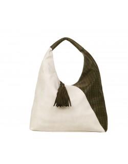 Duża torba z ażurowym motywem i frędzlami