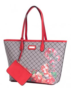 Duża Shoperka elegancka torba z kwiatowym printem