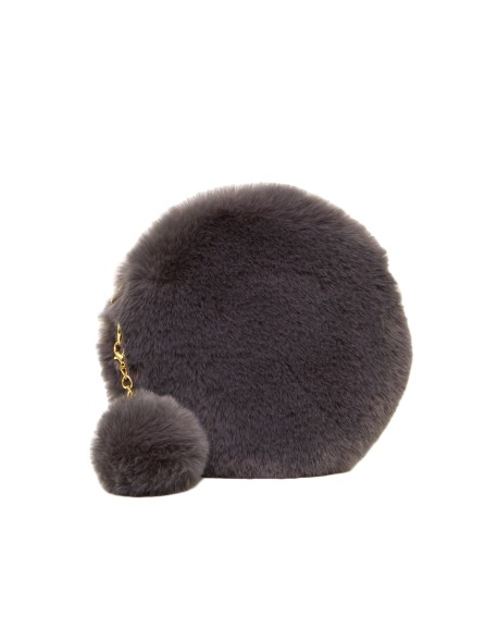 Torebka mini okrągła listonoszka faux fur Vivi Paris z pomponem