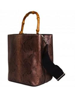 Kuferek z drewnianą rączką torebka żmija metalik
